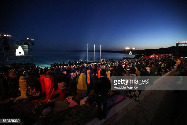 Thousands of Australian and New Zealanders attend the dawn service at Anzac Cove in commemoration of the 102nd anniversary of Canakkale Land Battles...