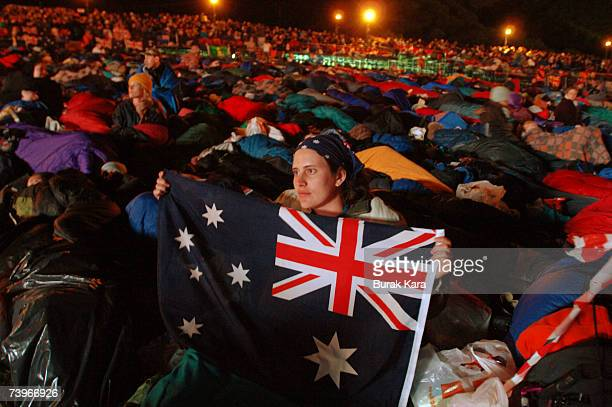 Thousands of Australians and New Zealanders attend a dawn ceremony at Anzac Cove where the first battle was fought on April 25 2007 in Gallipoli...