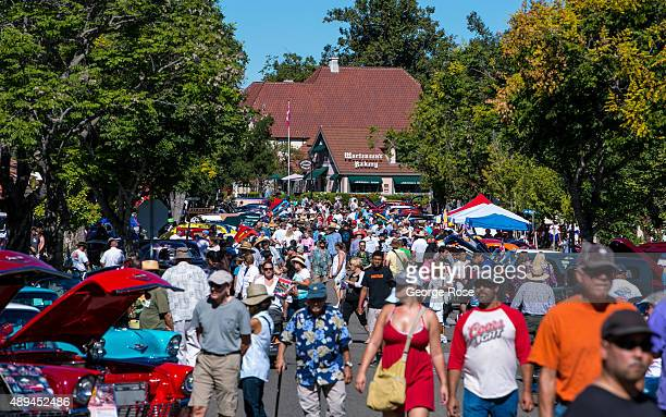 Thousands of auto enthusiasts enjoy nearly 100 antique cars and hot rods during the town's 'Wheels Windmills' Classic Car Show on August 29 in...