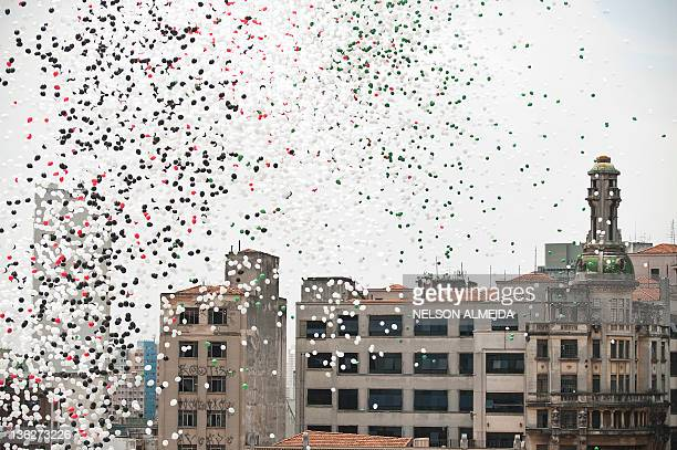 Thousands of biodegradable balloons are released by Sao Paulo's Commercial Association at Patio do Colegio, site of this Brazilian city's foundation...