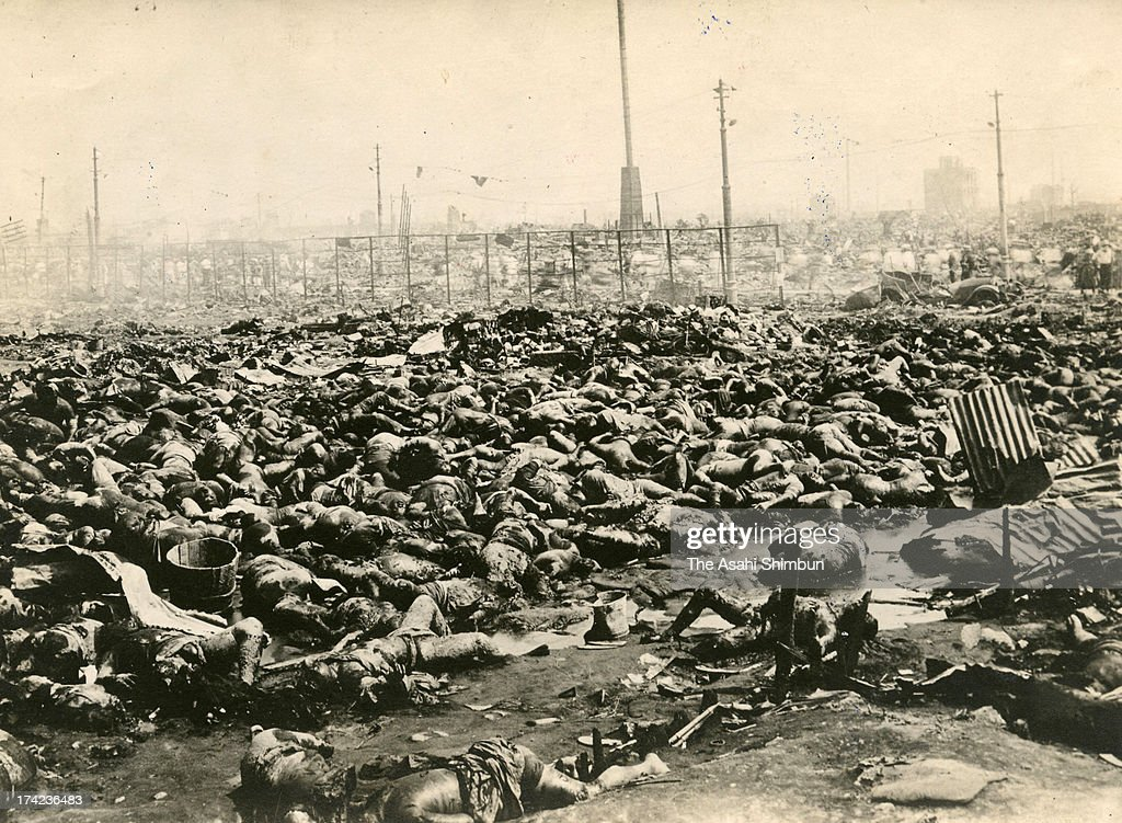 Thousands of bodies of fire whirl victims at the former Army Clothing Depot site, or Kyu Rikugun Hifuku Sho Ato, where 38,000 evacuees were killed, are seen in September 1923 in Tokyo, Japan. The estimated Magnitude 7.9 strong earthquake hit Japan's capital Tokyo and surrounding area, the death toll was estimated up to 105,000 people. Approximately 38,000 victims were killed by fire whirl engulfed the former Army Clothing Depot site, where people had evacuated.