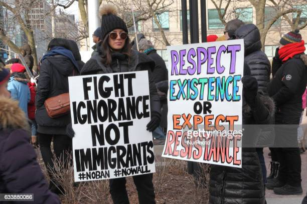 Thousands of Canadians took part in a massive protest against President Trump's travel ban on Muslims during the National Day of Action against...