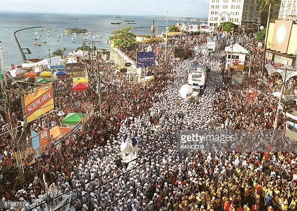 Thousands of carnival goers crowd the streets of Salvador de Bahia Brazil 13 February 2002 The annual Brazilian bacchanalia officially came to an end...