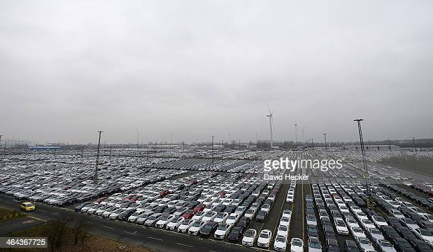 Thousands of cars destined for export overseas stand parked and waiting to be loaded onto ships on January 22 2014 in Bremerhaven Germany Bremerhaven...