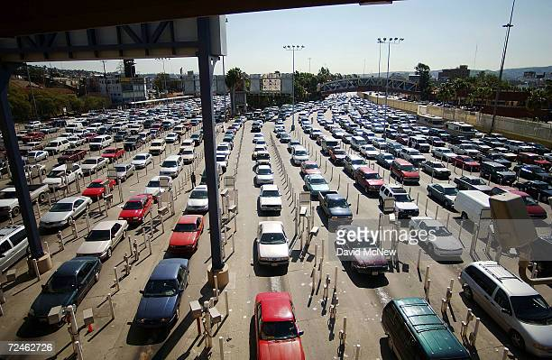 Thousands of cars line up to enter the United States from Mexico at the San Ysidro Port of Entry February 20 2003 in San Ysidro California The San...