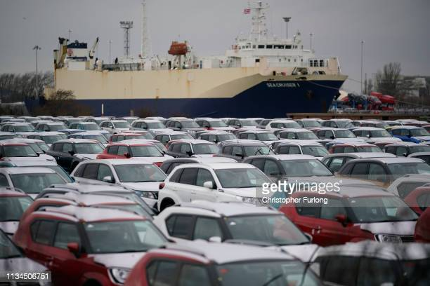 Thousands of cars manufactured by Suzuki are stored at Grimsby Docks on March 08 2019 in Grimsby England It has been reported that many car...