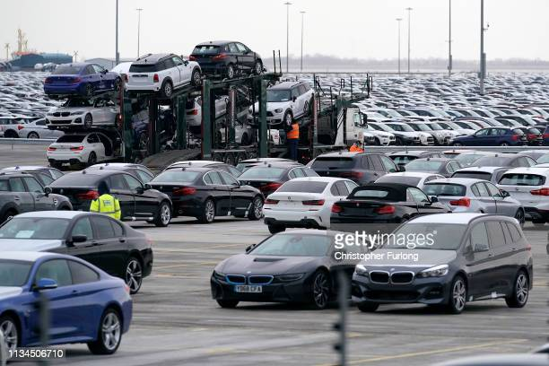 Thousands of cars manufactured in Germany are stored at Immingham Docks on March 08 2019 in Grimsby England It has been reported that many car...