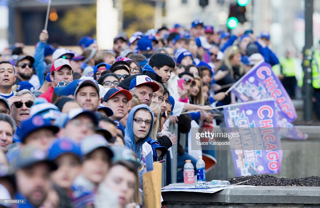 Thousands of Chicago Cubs fans pack Michigan Avenue during the Chicago Cubs 2016 World Series victory parade on November 4, 2016 in Chicago, Illinois. The Cubs won their first World Series championship in 108 years after defeating the Cleveland Indians 8-7 in Game 7.