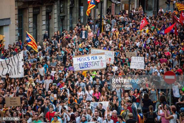 Thousands of citizens protester demonstrate against the Spanish police at the police headquarters Catalans protest against police violence after...