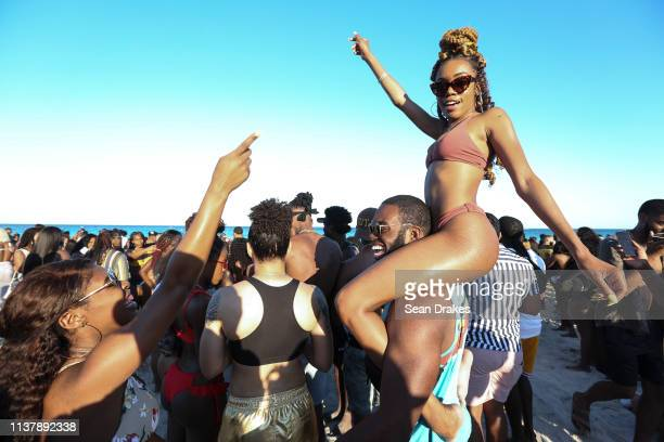 Thousands of college students and nonstudents attend Spring Break festivities in Miami Beach on March 23 2019 in Miami Florida USA