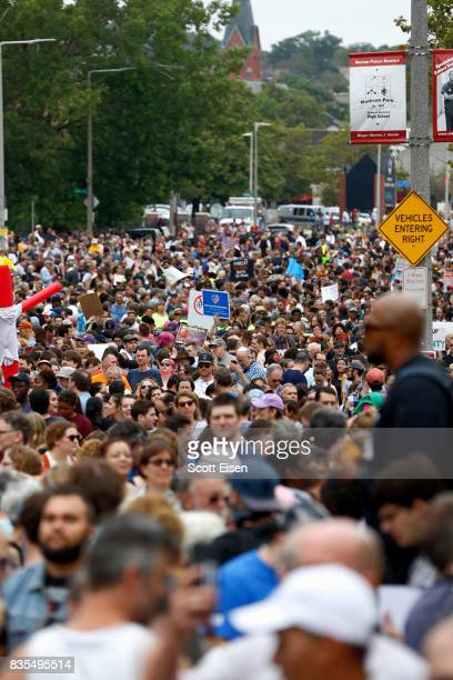 Thousands of counter protesters gather on Malcolm X Blvd in Roxbury before marching to a planned 'Free Speech Rally' on Boston Common on August 19...