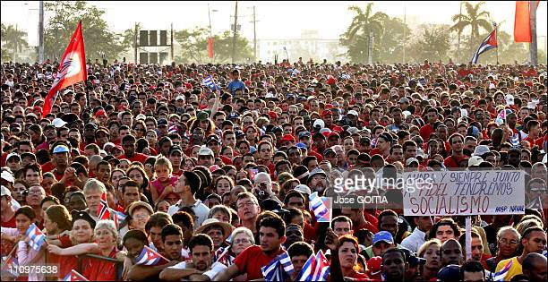 Thousands of Cubans are seen as Cuban President delivers a speech during the May Day celebration in Havana Cuba on May 01st 2006 at the Revolution...