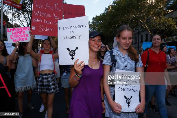 Thousands of demonstrators attend a rally for International Women's Day on March 8 2017 in Melbourne Australia Marchers were calling for...