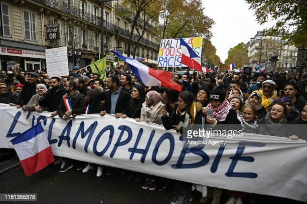 Thousands of demonstrators gather at Gare Du Nord after the call from scores of institutions, during a demonstration to protest against Islamophobia,...