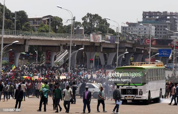 Thousands of demonstrators gather at Meskel Square to protest against the attacks resulted in the deaths of 23 people in Addis Ababa Ethiopia on...