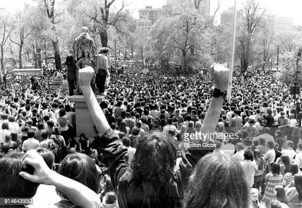 Thousands of demonstrators gather to protest the war in Vietnam and Cambodia and the recent shooting in Ohio of four Kent State University students...
