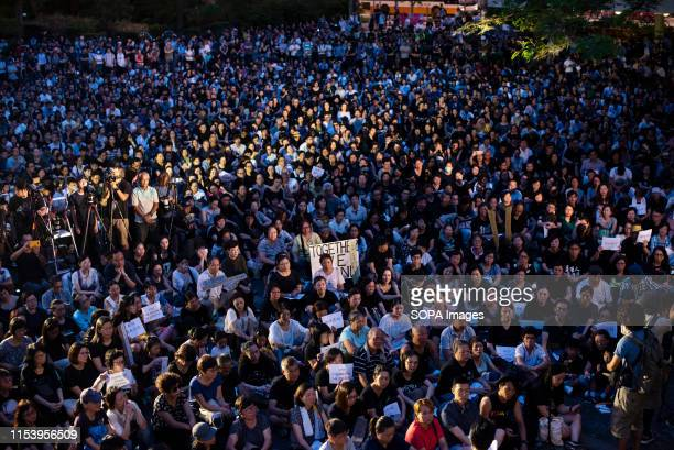 Thousands of demonstrators join a rally organised by the Hong Kong mothers in support of extradition law protesters They demand the Hong Kong...