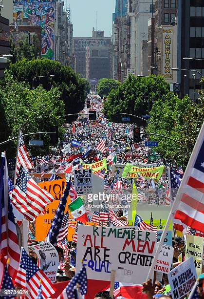 Thousands of demonstrators march during a May Day immigration rally on May 1 2010 in Los Angeles California More than 100000 people were expected to...