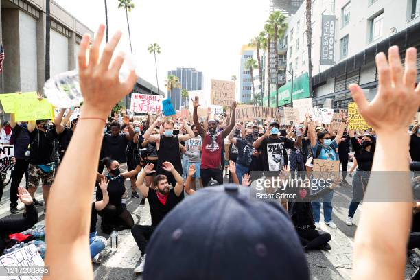 Thousands of demonstrators march in response to George Floyd's death on June 2 2020 in Los Angeles California Floyd died while in Minneapolis police...