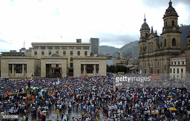 Thousands of demonstrators march to protest against the Revolutionary Armed Forces of Colombia leftist guerrillas and to ask for the release of...