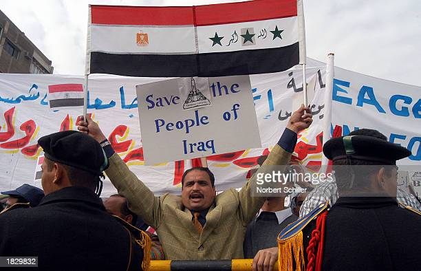 Thousands of demonstrators protest a possible US war against Iraq March 5 2003 in a huge rally near the stadium in Cairo Egypt President Hosni...
