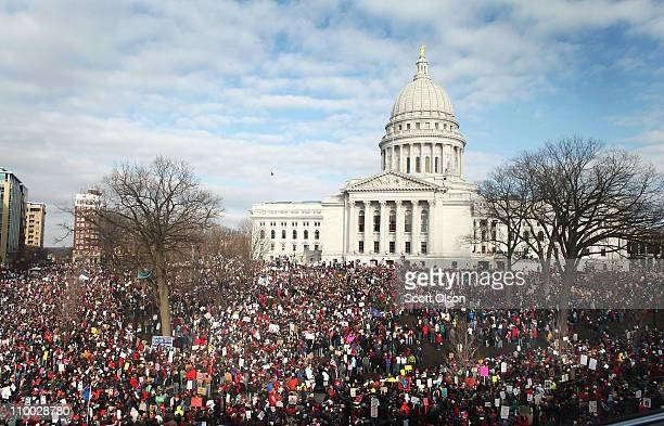 Thousands of demonstrators protest outside the Wisconsin State Capitol March 12 2011 in Madison Wisconsin Organizers were expecting 200 thousand...
