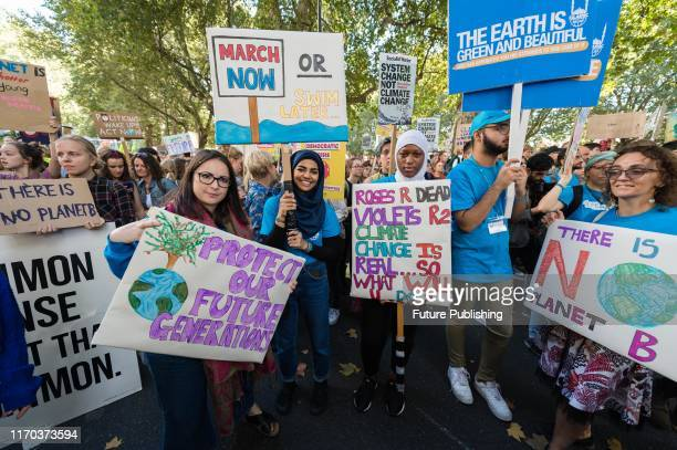 Thousands of demonstrators take part in a Global Climate Strike on 20 September, 2019 in London, England, to draw international attention to the...