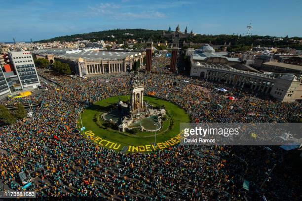 Thousands of demonstrators take part in a march celebrating the Catalan National day on September 11, 2019 in Barcelona, Spain. The Spanish...