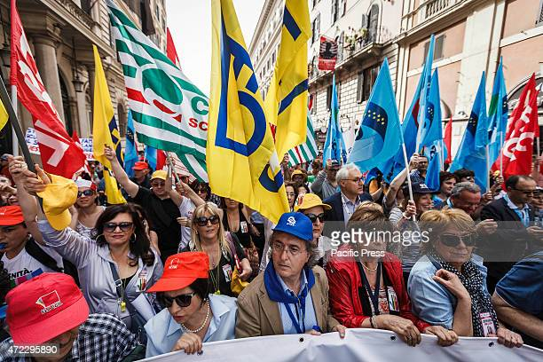 Thousands of demonstrators take part in a nationwide day of strike in Rome to protest against Prime Minister Matteo Renzi's 'the Good School'...