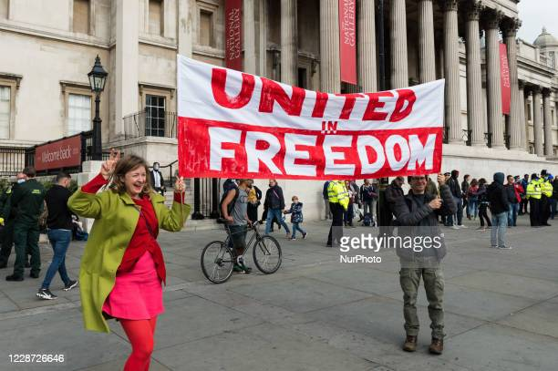 Thousands of demonstrators take part in Unite for Freedom rally in Trafalgar Square to protest against the restrictions imposed by the Government to...