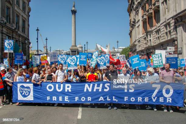 Thousands of demonstrators took to marching in Central London on June 30 2018 to mark the 70th Birthday of the NHS and protest against cuts to the...