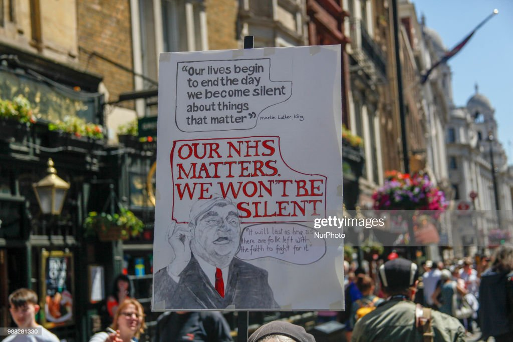 Thousands of demonstrators took to marching in Central London on June 30, 2018 to mark the 70th Birthday of the NHS and protest against cuts to the service by the Conservative Government.