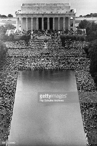Thousands of demonstrators with the March on Washington gather around the Lincoln Memorial and its reflecting pools