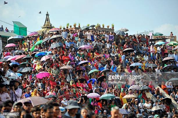 Thousands of devotees attend to observe the festival on the third day of Indra Jatra Festival at Basantapur Durbar Square where they the god of rain...