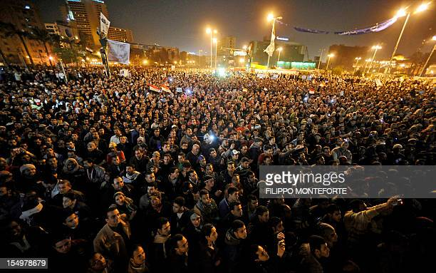 Thousands of Egyptian protesters gather in Cairo's Tahrir Square during a mass rally against the country's military rulers on December 23 2011 Egypt...