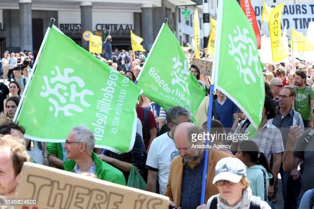 Thousands of environmentalist gather during a demonstration to draw attention to global warming and climate change at Central Station in Brussels...
