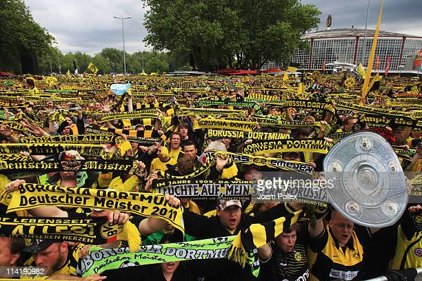 Thousands of fans are waiting for the team of Dortmund to celebrate winning the German Championship at the Westfalenhalle on May 15 2011 in Dortmund...