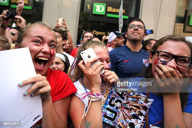 Thousands of fans cheer as the World Cupwinning US womenÕs soccer team make their way up the The Canyon of Heroes along Broadway during a tickertape...