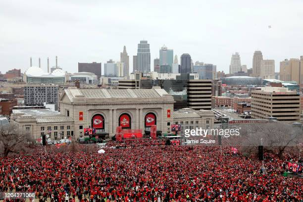 Thousands of fans gather in front of downtown Kansas City for a rally to celebrate the Kansas City Chiefs' Super Bow win on February 05 2020 in...