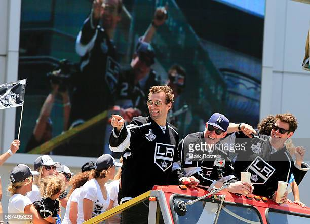Thousands of fans turn out to cheer for the Stanley Cup Champion Los Angeles Kings in front of the Staples Center during the Kings victory parade...