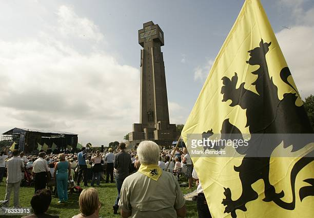 Thousands of Flemish Belgians gather at the Ijzer Tower for the 80th annual Yzer Pilgrimage on August 26 2007 in Diksmuide Belgium Every year...