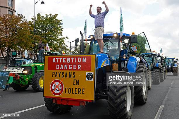 Thousands of French farmers descend at Place de la Nation in Paris with their convoys of tractors from all over France to protest against plummeting...