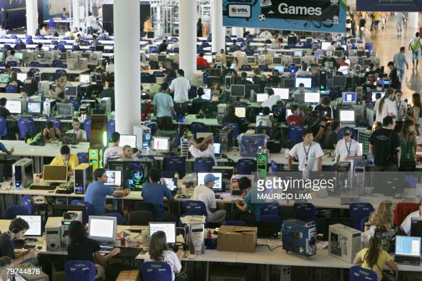 Thousands of gamers gather at the world's biggest online electronic entertainment event the Campus Party held at the Bienal Pavilion in Sao Paulo...