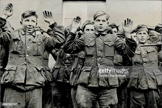Thousands of German 'teenagers such as these young Nazis who surrendered to the Allies who were taken during 1945 from their homes in the Soviet...