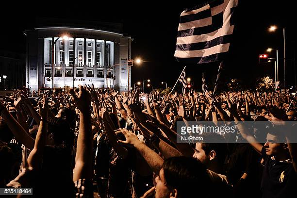 Thousands of Greeks gathered under the White tower in Thessaloniki to celebrate the qualification of the Greek team to next phase of World Cup 2014...