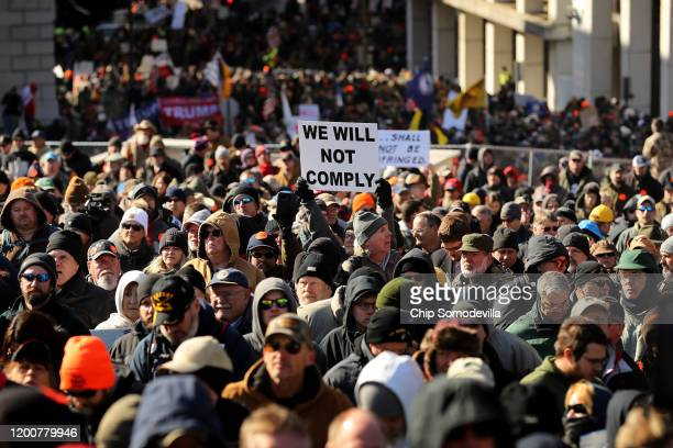Thousands of gun rights advocates attend a rally organized by The Virginia Citizens Defense League on Capitol Square near the state capital building...