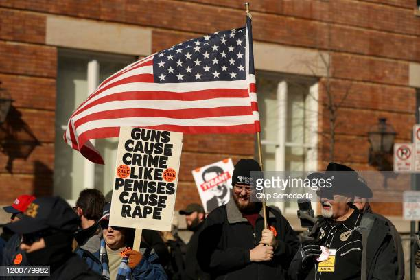 Thousands of gun rights advocates attend a rally organized by The Virginia Citizens Defense League on Capitol Square near the state capitol building...