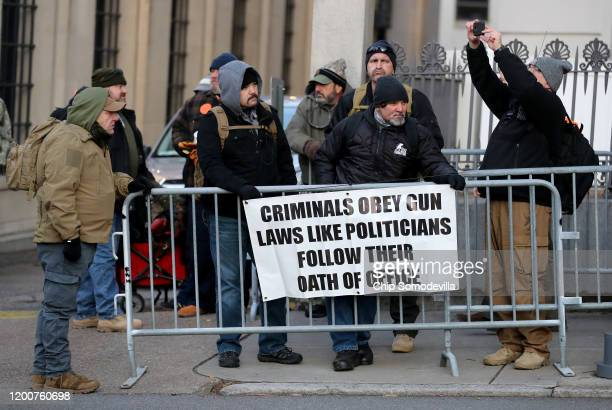Thousands of gun rights advocates gather for a rally organized by The Virginia Citizens Defense League on Capitol Square near the state capital...