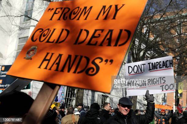 Thousands of gun rights advocates leave a rally organized by The Virginia Citizens Defense League on Capitol Square near the state capitol building...