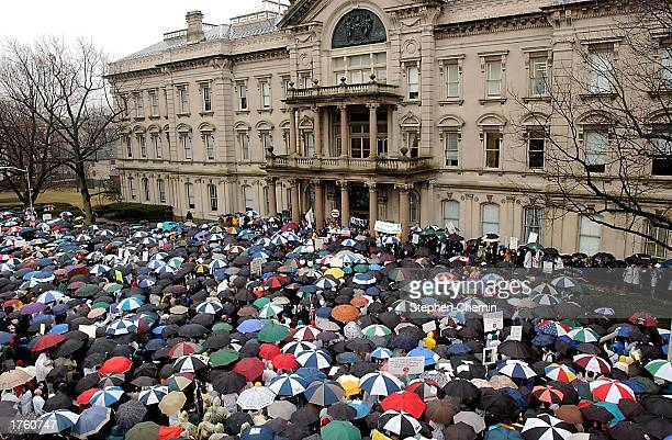 Thousands of health care workers rally at the New Jersey Capitol Complex February 4 2003 in Trenton New Jersey About 3000 health care workers...